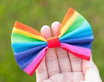 Rainbow color hair bow, multicolor cotton fabric hair bows, colorful hair clip/ alligator /barrette, hair accessory for all hair types