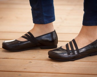 Black Vegan Leather Shoes, Black Shoes, Flat Shoes, Soft Shoes, Loafers , Free Shipping