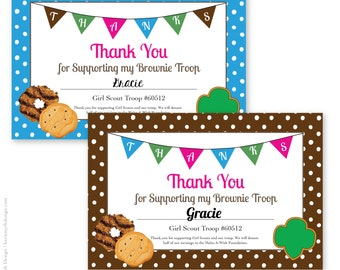 personalized printable scout cookie thank you notecards