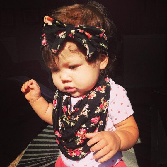 floral matching baby scarf bib bow headband by avileebabyco