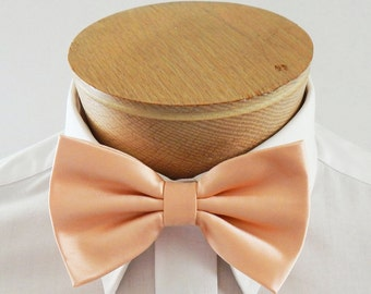 Mens Bowtie Pale Peach  Mans Pre Tied Banded Bow Tie