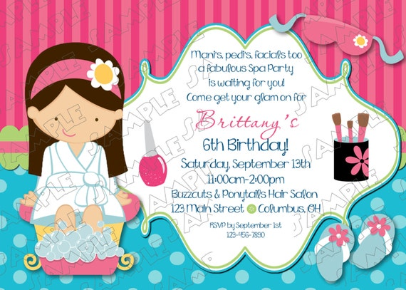 Printable Spa party invitation mani pedi party any color birthday – Printable Spa Party Invitations