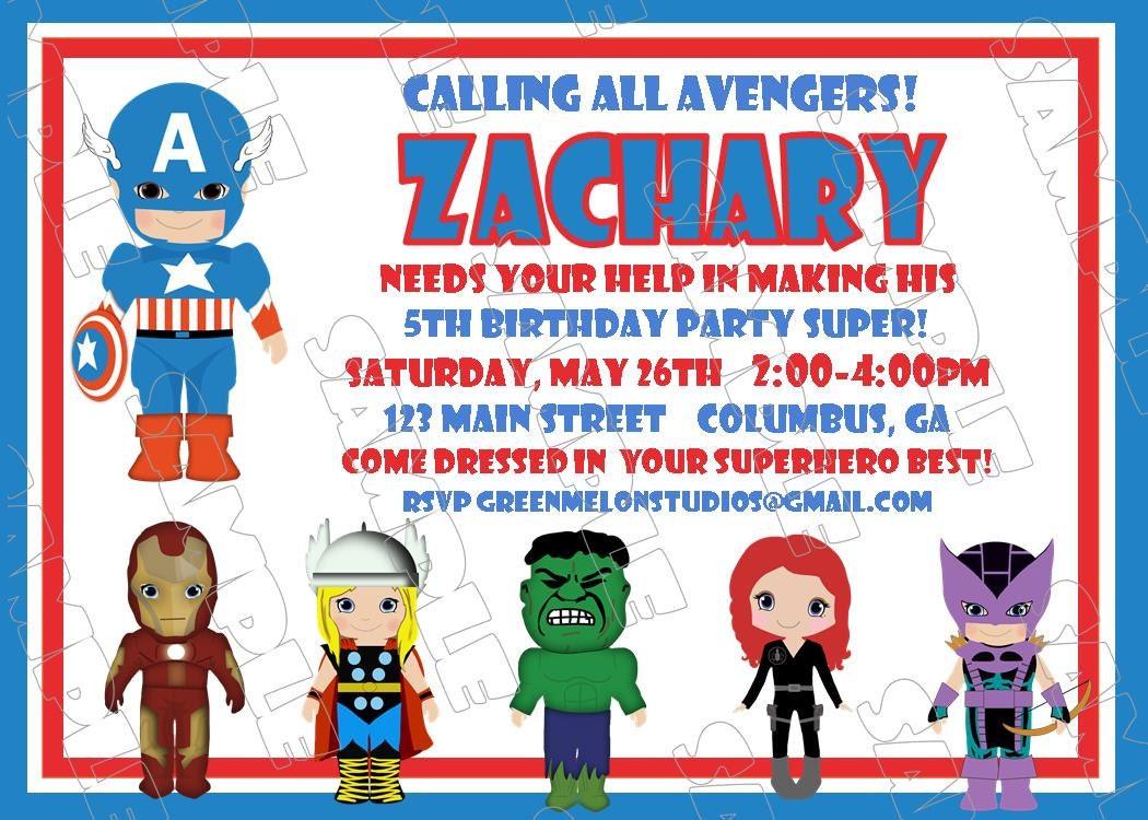 Avengers Captain America Inspired Birthday Party Printable - Avengers birthday invitation wording