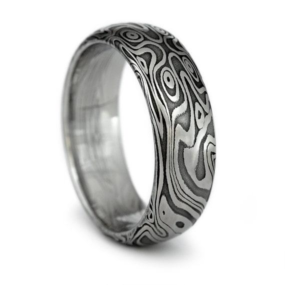 wood grain ring damascus steel men 39 s domed wedding band