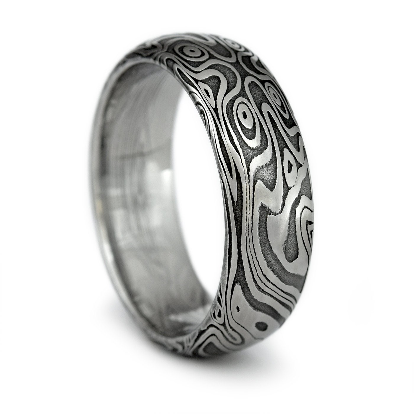 Wood Grain Ring Damascus Steel Men s Domed Wedding Band