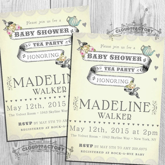 baby shower tea party invitations for a boy or girl baby tea shower