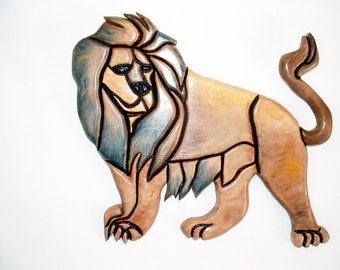 Animal, Wall Decor, Lion, Wood sculpture,Wall Art, Rustic, Wood Wall Art, Wall Hanging, Intarsia Wood Art