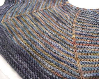 Handknit Scarf/Shawl - Stripes of Blue, Brown and Green, Earth Tones, 100% Super Soft Merino Wool,