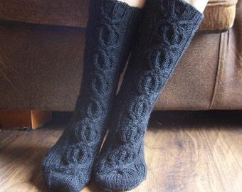 Black Socks Hand Knitted Ladies / Girls / Women Cabled Merino Wool