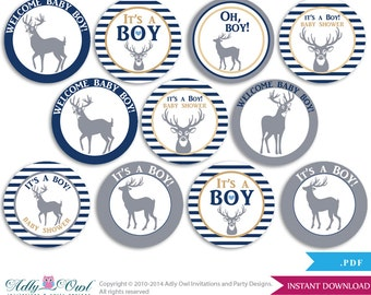Boy Deer Cupcake Toppers for Baby Shower Printable DIY, favor tags, circles, It's a Boy, Forest - ONLY digital file - aa17bs0