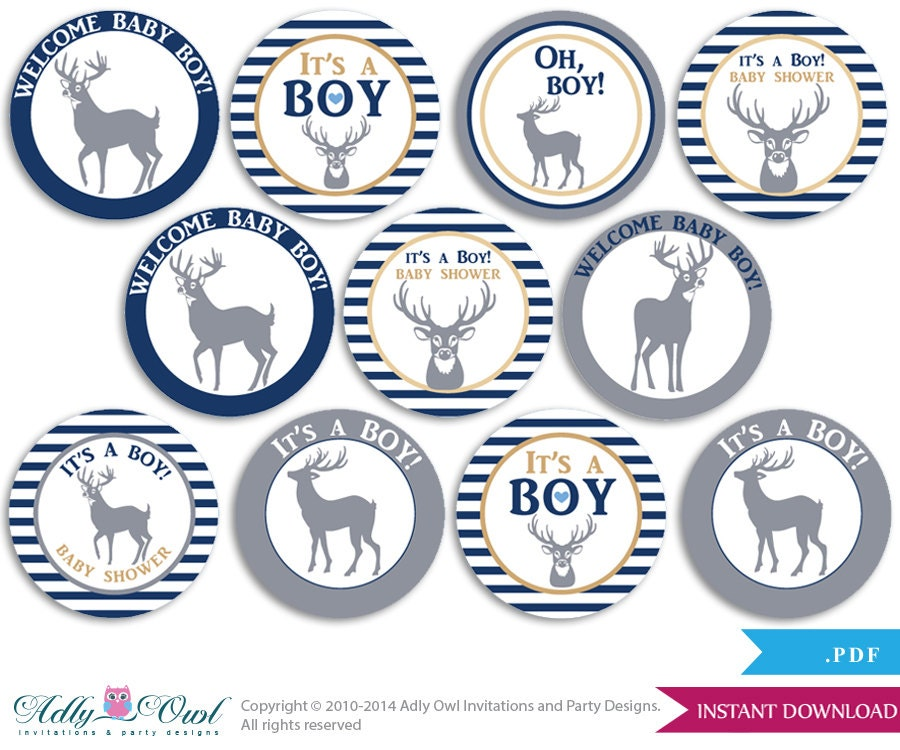 boy deer cupcake toppers for baby shower printable diy favor