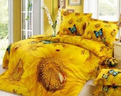 Sunflower 4pc bedding set yellow king queen Duvet/Quilt cover bed linen bedsheet cotton coverlet sets