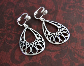 SIlver Dangle Earrings, Clip On or  Pierced Silver Teardrop Silver Hoop Filigree Geometric Statement Everyday Jewelry