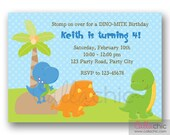 Dinosaur Invitation PRINTABLE - Cute Boy 1st Birthday Invite / Baby Shower Invitation