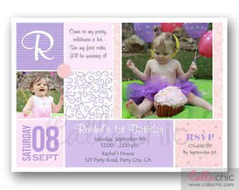 Multi Photo Birthday Invitation Printable for Girls / Boys 1st Birthday - Elegant Damask (Pink Purple Turquoise Red)