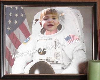Funny Baby Astronaut Picture Frame NASA INSTANT DOWNLOAD digital download funny baby picture print wall decor