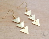 Antique Gold Triangle Earrings  Gold Plated Geometric Edgy Drop Geo Jewelry  Spear Arrow Native Tribal Aztec Earrings Christmas Gift