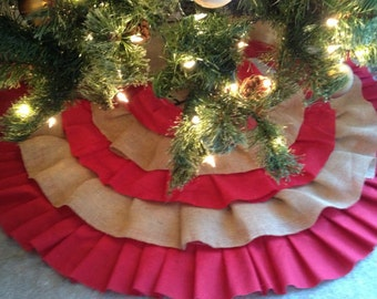 Red Cotton and Burlap Christmas Tree Skirt