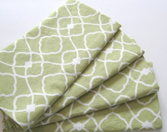 Cloth Napkins - Set of 4 - Chartreuse Green Tile - Dinner, Table, Everyday, Wedding