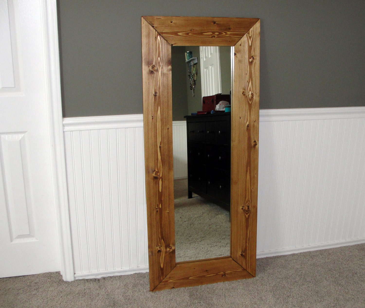 Large beautiful wood framed full length mirror for Full length wall mirror