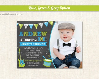 Making Music Chalkboard Photo Birthday Invitations  - Boys First Birthday Party - Digital or Printed