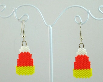 Beaded Halloween Candy Corn Earrings - Halloween Jewelry