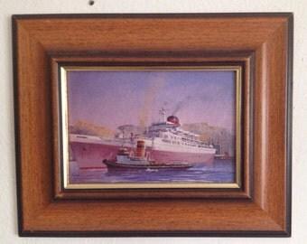 "Signed Union Castle Line ""Winsdor Castle"" Framed Oil Painting On Board"