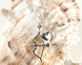 "Sterling Silver Bow and Arrow with puff heart necklace, 16-22"" Sterling Silver Cable Chain"