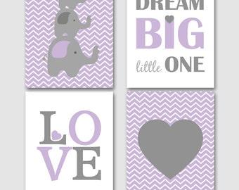 Dream big little one, Elephant nursery, lavender nursery decor, nursery decor set, chevron nursery, elephant set -INSTANT DOWNLOAD