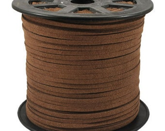 20Yds 3mm Brown Faux  Leather Suede Cord