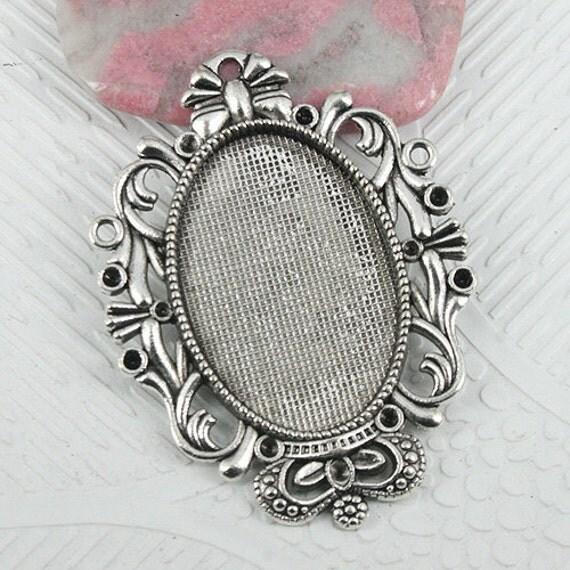 wholesale 50pcs pendant trays 30x20mm antique silver tone