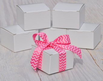 100 White Gift Boxes 3x3x2 One Piece with Tuck Lid