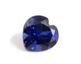 Blue Sapphire Synthetic Lab Created Loose Gemstone Heart Cut 1A Quality 6mm TGW 1.05 cts.