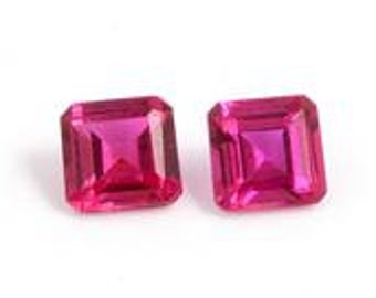 Ruby Synthetic Lab Created Loose Gemstones Set of 2 Octagon Cut 1A Quality 5mm TGW 1.35 cts.