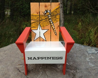 Duluth Crate Co. Solid Wood Hand Crafted And Hand Painted Adirondack Chair.