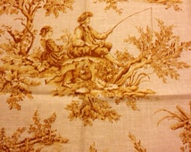 "Kravet Toile Fabric 25"" x 25"" Aumont Rose, Aumont Brique, Aumont Marine Cotton Linen Pierre Deux Collection FREE SAMPLES"