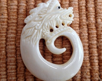 Hand Carved Bone Dragon Pendant / Bead - 1 3/4 Inches - 44 mm