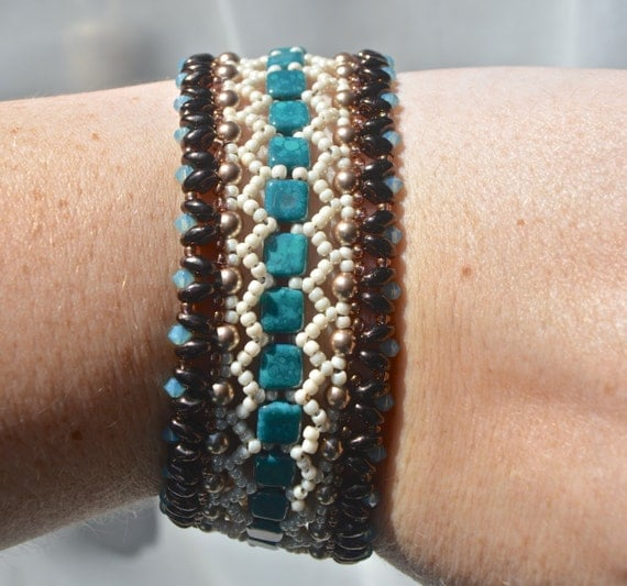 Teal and Brown La Tila Bracelet