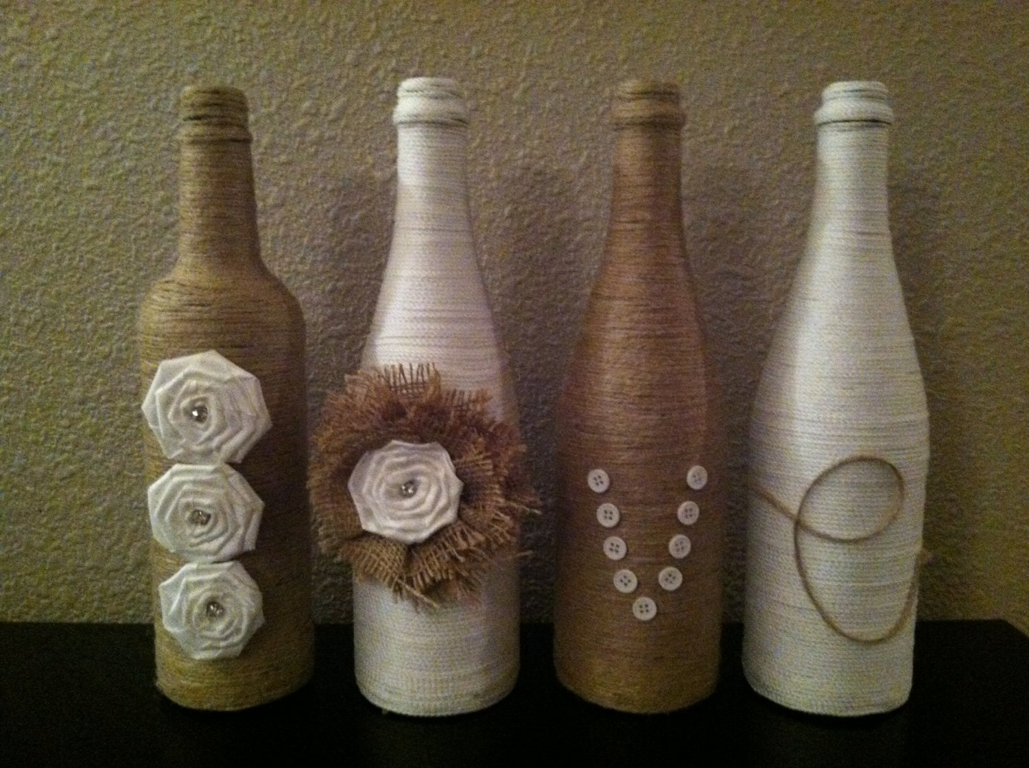 Decorative twine wine bottles for Decorative vials