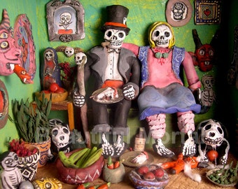 Beautiful Mortal Dia De Los Muertos Sugar Skull Skeleton Family Portrait Canon PRINT 222 by Michael Brown