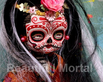 Beautiful Mortal Dia De Los Muertos Sugar Skull Doll PRINT 544 by Michael Brown