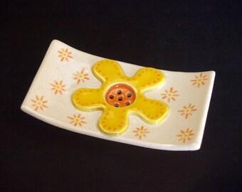 "Square ceramic SOAP dish ""Flower"" yellow"