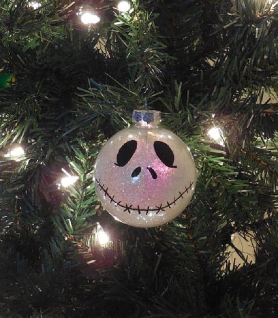 Skeleton Snowman Sparkly Glass Ball Christmas Ornament
