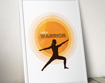 Yoga Art Yoga Poster Sun Salutation Yoga Decor Warrior Wall Art Inspirational Posters prints Motivational workout print namaste om Retro Art