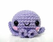 Friendly Little Purple Amigurumi Octopus Crochet Plush Animal