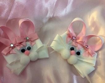 Easter Bunny Hair Bow...Bunny clip set