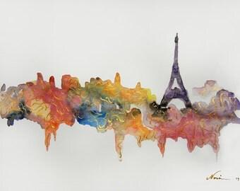 Original Paris watercolor painting, Paris artwork, Paris painting, paris watercolor art, Eiffel Tower watercolor, Eiffel tower painting