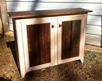 Rustic Handcrafted Wood Buffet Cabinet with Barn Tin Panels. Storage with 1 Adjustable Shelf