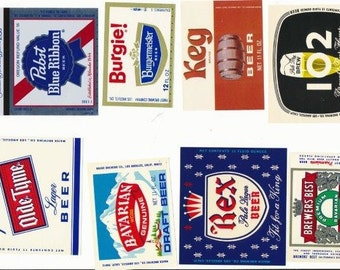 Beer Labels  - 8 different - vintage -  unused - excellent condition FREE SHIPPING (U.S.)