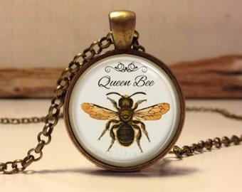 Queen Bee necklace. Queen Bee art pendant jewelry